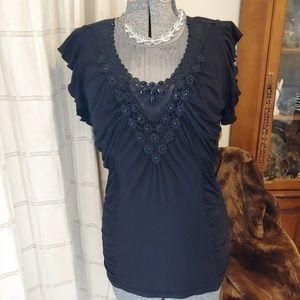 Black Embellished Tribal Ruched Top